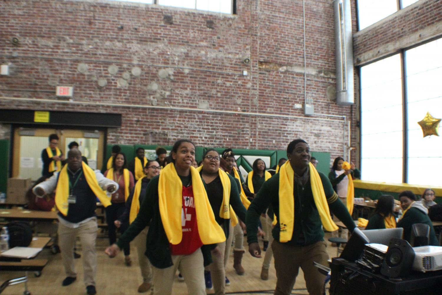 Students dancing during the National School Choice Week ceremony.